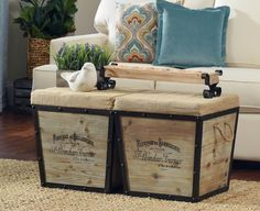 Add rustic charm to your home with a Distressed Wood & Burlap Tapered Ottoman! Crate Ottoman, Ottoman Decor, Ottoman Bench, Home Living Room, Living Room Designs, Distressed Wood, How To Distress Wood, Rustic Charm, Country Decor