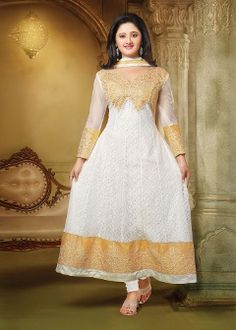 Buy Vida Women's Georgette Salwar Suit - White