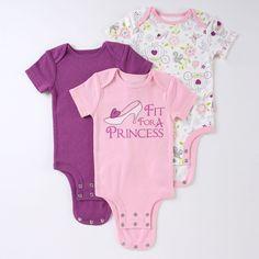 "Disney Princess ""Fit for a Princess"" DISNEY CUDDLY BODYSUIT™ 3-Pack"