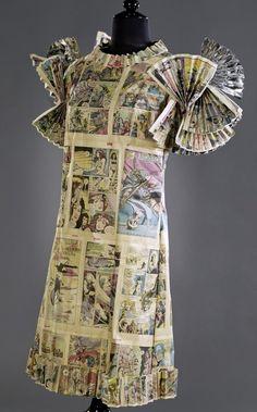 """Comic Fan"" dress made from American comics, Stephan Hann, Fancy Costumes, Comic Page, American Comics, Masquerade Ball, Dress Making, Paper Art, Culture, Berlin, 1960s"