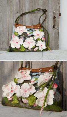 Hand felted bag, purse with beautiful 3D sakura flowers. Handcrafted wooden handles add to it unique character. These handles were made from exotic wood