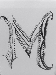 Find this Pin and more on Zentangle & more - letters by kimzinke. Doodle Alphabet, Doodle Art Letters, Doodle Art Journals, Drawing Letters, Doodle Lettering, Alphabet Art, Creative Lettering, Letter Art, Hand Lettering