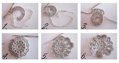 Edellisessä postauksessa lupasin tehdä   ohjeistuksen virkattuun kukkaan.    Tässä se nyt olisi:      Tässä vapaalla kädellä piirretty oh... Doilies, Crochet Baby, Lana, Diy And Crafts, Crochet Earrings, Shabby Chic, Diy Projects, Sewing, Knitting