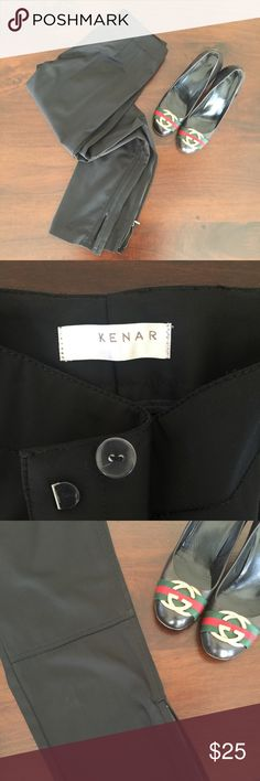 KENAR structured dress pants super chic!! quality black dress pants with top stitching at knees.. front zip button and hook. side zippers at lower are the selling feature!! worn once and in excellent condition.. paired with sky high black patent pumps but can be dressed down with loafers. 3% spandex for a perfect fit for fall :) Kenar Pants Trousers