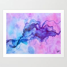Aquarel Print paars roze en blauw, Canvas Art, aquarel, kunst aan de muur, Art…
