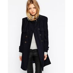 ASOS Coat With Patch Pockets In A Line (€68) ❤ liked on Polyvore featuring outerwear, coats, navy, double-breasted coat, asos coat, blue double breasted coat, a-line coat and blue coat