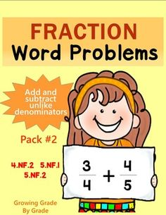 Fraction Word Problems: Add and Subtract Unlike Denominato