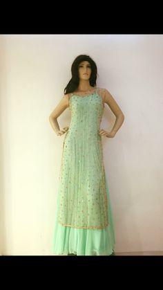Mint Green Long Chiffon Beading Prom Dress With Open Back d8d1de1cccf0