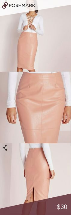 Missguided Faux Leather Midi skirt New Unworn  *As Pictured*  Nude Pink color  Size 14 (UK)  US 10  Reasonable offers only! No LowBall Offers pls Missguided Skirts Midi