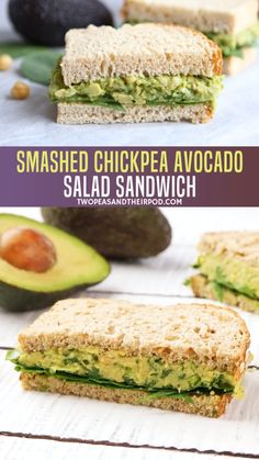 Feb 2019 - Smashed Chickpea Avocado Salad Sandwich is the perfect healthy lunch or dinner! This easy smashed chickpea salad can be eaten as a sandwich or served on greens, rice cakes, toast, or eaten as a dip with crackers or veggies! Good Healthy Recipes, Lunch Recipes, Whole Food Recipes, Cooking Recipes, Healthy Snacks, Vegan Avocado Recipes, Vegan Lunches, Fall Vegetarian Recipes, Vegetarian Kids