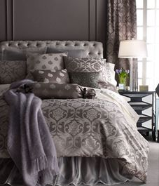 Fino Lino Linen & Lace Charleston Bed Linens Each x Damask Curtain - traditional - curtains - Horchow Gray Bedroom, Home Bedroom, Bedroom Decor, Master Bedroom, Bedroom Ideas, Gothic Bedroom, Pretty Bedroom, Master Suite, Bed Sets