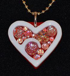 Sparkly Heart // Dichroic Fused Glass Pendant // StephGlass Original Art