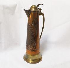 Art Nouveau German Jugendstil Copper and Brass Pitcher