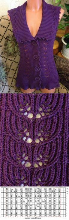Фиолетовый жилет спицами | Лаборатория домашнего хозяйства