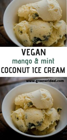 This easy and gluten-free vegan mango and mint ice cream recipe is the perfect vegan summer dessert. It is no-churn too! For more vegan desserts visit www.greenerideal.com
