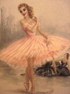Vintage Ballerina Art Print