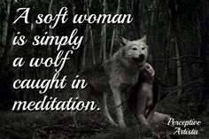 A soft woman is simply a wolf caught in meditation.   love the quote. someone make some awesome .gifs of this!