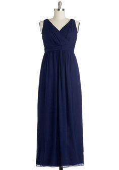 Grand Guest Dress in Navy - Plus Size - Chiffon, Woven, Blue, Solid, Ruching, Special Occasion, Prom, Wedding, Bridesmaid, Maxi, Tank top (2 thick straps), Best, V Neck, Variation  Probably not what we are looking for but it could work for me. It says it fits large in the bust!