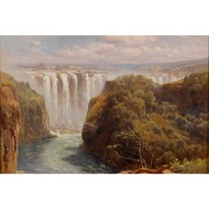 YGC Edward Henry Holder 'The Gorge And Palm Grove, Victoria Falls' Oil on Art
