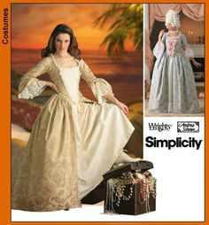 Elizabeth Swann Colonial Costume Simplicity Pattern 4092. (This pattern is often available on eBay as well).