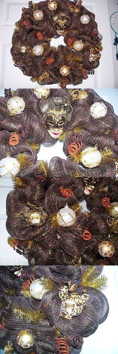 Wreaths 16498: Mardi Gras Homemade Deco Mesh Wreath With Burgandy And Brown Jestor Mask -> BUY IT NOW ONLY: $65 on eBay!