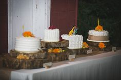 Log cake stands- love this!