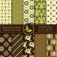 Brown & Lime  This listing is for 10 printable High Quality Digital papers.    Each paper measures 12 x 12 inch, 300 DPI, JPEG format.    Great for scrapbooking, making cards, invitations, tags and photographers.