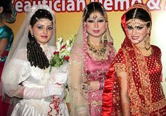 LAHORE: Jun25 – Models pose for photographs during Bridal Award Show organized by Cultural Welfare Foundation at a local hotel.