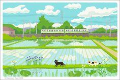"""イラストレーター森俊憲の描く猫のイラスト『たびねこ』シリーズの新作です。水田と電車と猫2匹。『緑色の風』 It is a new work of the illustration """"TABINEKO"""" series of the cat to draw of illustratorToshinori Mori. A rice field and a train and two cats. """"Green wind"""" —- I sell the TABINEKO postcard in Etsy..."""