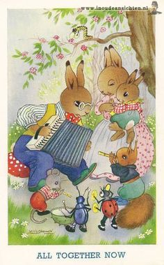 R&L Postcard: J Salmon, Childrens Willy Schermele Rabbit Squirrel Animals, Music Beatrix Potter, Vintage Children's Books, Vintage Postcards, Zany Zoo, Bunny Art, Bunny Drawing, Cute Little Animals, Children's Book Illustration, Artist Painting