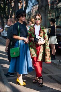 Splashing some colour around Milan fashion Week. Street style friends