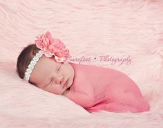 Newborn Photo Prop, Pink Hand Dyed Cheesecloth Wrap with Matching Baby, Infant Flower Headband with Pearl middle accent