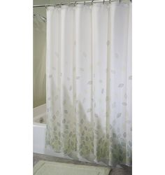 The Verde Shower Curtain has an elegant leaf design printed on white polyester waffle fabric. It features fresh greens in a clean design. This curtain is machine washable for easy care.