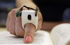 FingerReader is a Ring for visually impaired. It is a gadget which will be worn on the index finger giving the blind user the power to hear to the printed words. Assistive Technology, Cool Technology, Wearable Technology, Technology Gadgets, Technology Articles, Medical Technology, Medical News, Business Technology, New Gadgets