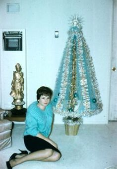 Tiffany blue sweater and Christmas tree....1960s