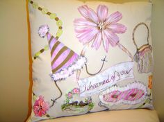 I Dreamed of You  Hand Painted Pillow Romantic by PAINTEDPILLOWS,