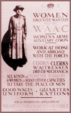 During World War I, the Women's Army Auxiliary Corps (WAAC) was founded.