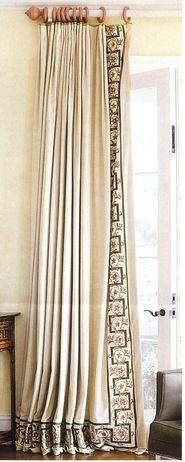 Drapes with Banding - Traditional Style #Window-Treatments