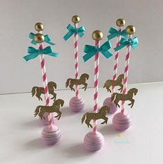 Amazing Carousel cake pops by Michelle Lima. Carousel Birthday Parties, Circus Birthday, Circus Party, First Birthday Parties, First Birthdays, Circus Wedding, Circus Theme, Horse Cake Pops, Horse Cake Toppers