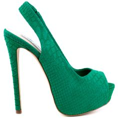 Add to any ensemble with the Adin by Steve Madden.  A striking snake print texture overlaps the upper and adjustable elastic slingback.  A peep toe, 5 3/4 inch heel and 1 1/2 inch peep toe platform is covered in a bright green shade.