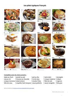 Alimentation - des plat typiques français fiche d'exercices - Fiches pédagogiques gratuites FLE