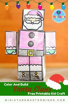 Color And Build Santa Claus Printable Christmas Kid Craft