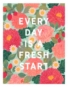 """""""Everyday is a Fresh Start"""" Fine Art Print by Paper Raven Co. Rainbow Quote, Image Paper, Romantic Gifts, Fresh Start, Creative Gifts, Art Tutorials, Typography Design, Watercolor Art, Hand Lettering"""