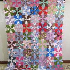 Vintage Antique Handmade Quiltpinwheel Quilt Top | eBay