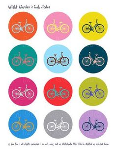 bicycle collage sheet, 2 inch circles, bike circle sheet bright colors, bike bell circle, cupcake toppers girls bicycle instant download 925
