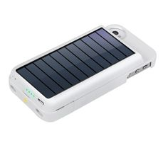 Eton White Rechargeable Battery Case with Solar Panel for iPhone4 and iPhone 4S