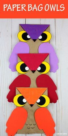 Paper Bag Owl Craft For Kids - Fall Craft with Owl Template Paper bag owl craft for preschoolers and older kids. Easy recycle craft for fall or autumn. Make it as a book inspired craft or animal craft. Fall Crafts For Toddlers, Easy Fall Crafts, Animal Crafts For Kids, Toddler Crafts, Preschool Crafts, Art For Kids, Owls For Kids, Letter O Crafts, Owl Crafts