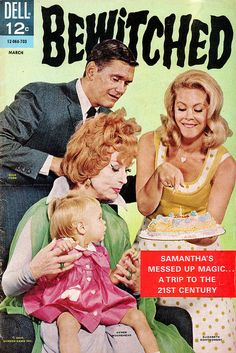 Bewitched ABC (1964-1971) Samantha, a powerful member of the society of witches that has lived apart from humanity for many centuries, falls in love with a mortal, Darrin Stephens. Much to the disgust of most of her family, she vows to give up witchcraft and become an ordinary suburban housewife, raising a family. She is never able to give up her heritage completely, however.