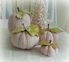 pink shabby chic PUMPKIN SET  4 pcs fall autumn decor vintage velvet leaves soft fabric