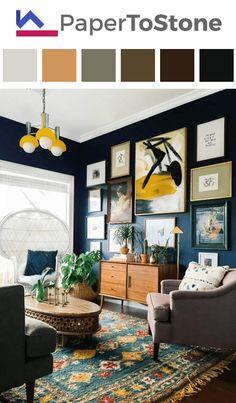 Living room color palette - dark-gamboge dark-orange dark-sapphire-blue red